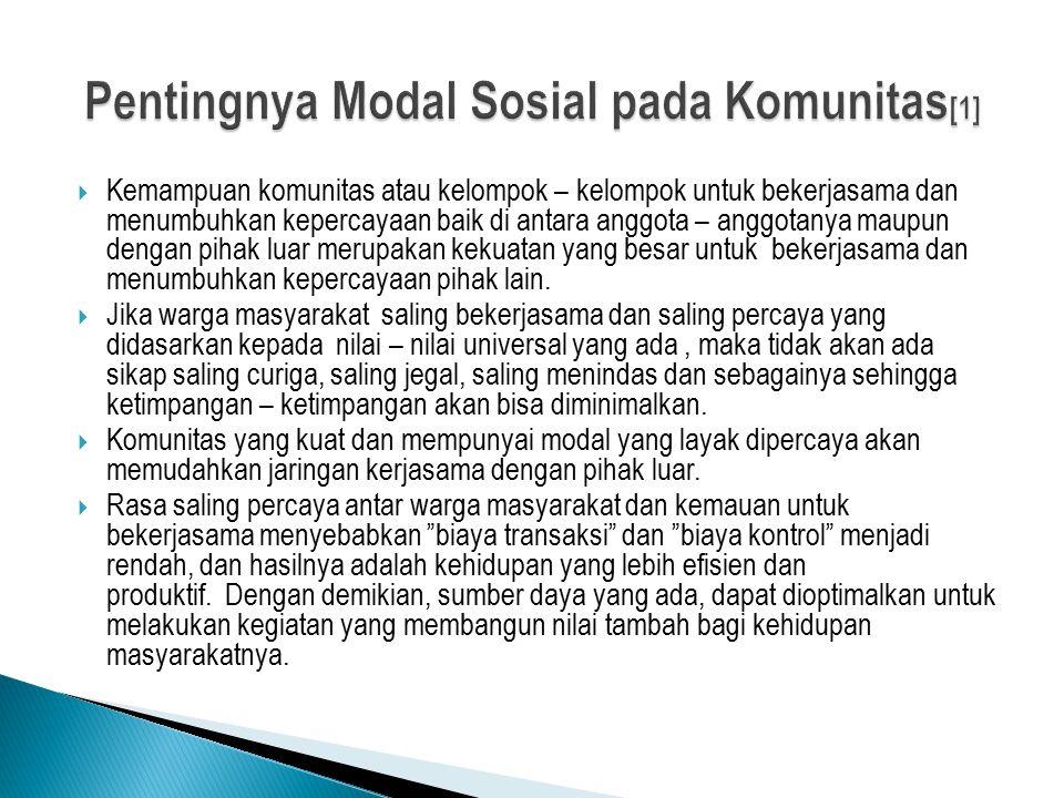 Pentingnya Modal Sosial pada Komunitas[1]